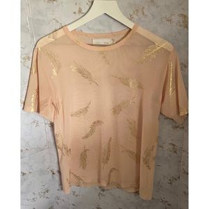 Minkpink Disney Baby Pink and Gold Mesh Top